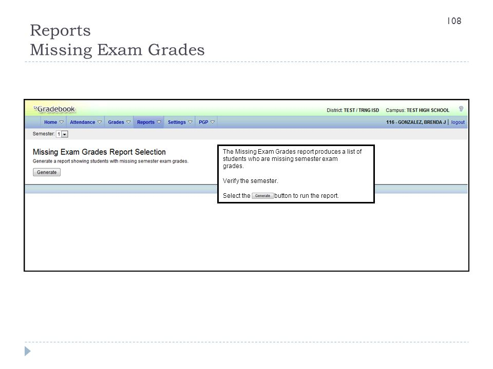 Reports Missing Exam Grades