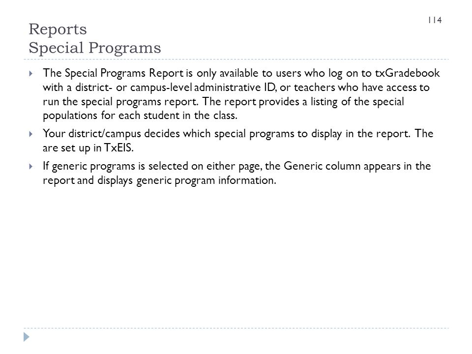 Reports Special Programs