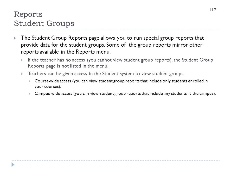 Reports Student Groups