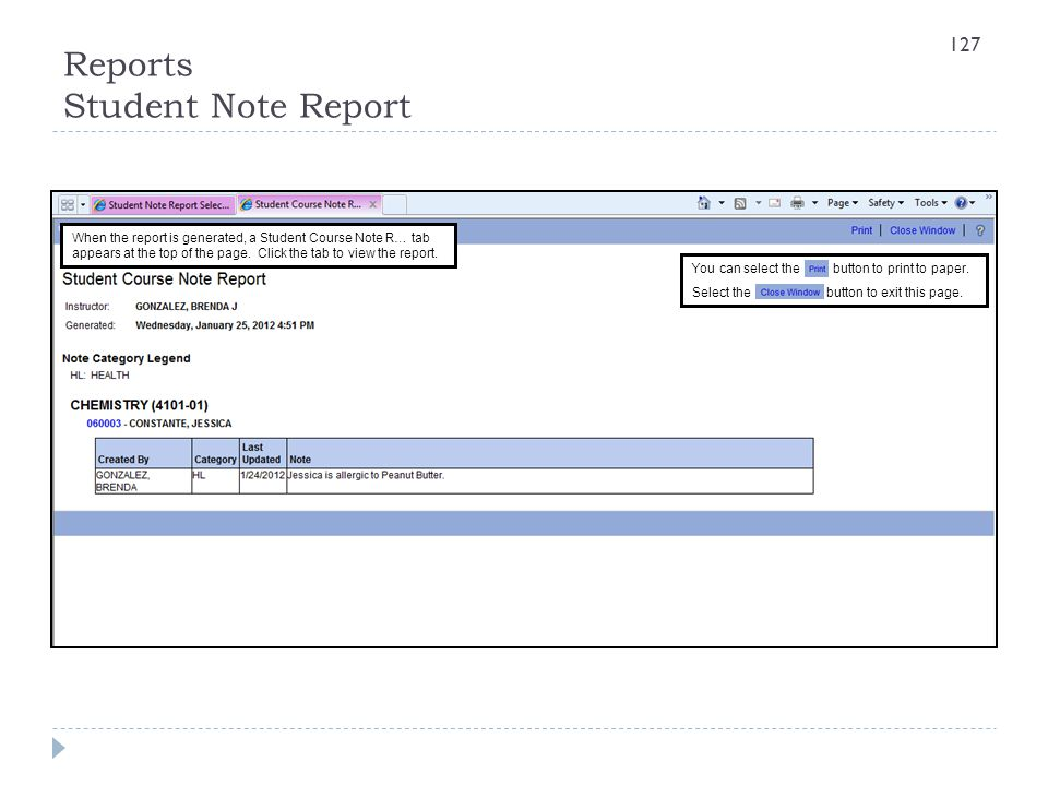 Reports Student Note Report