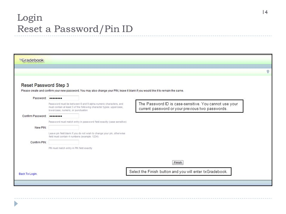 Login Reset a Password/Pin ID