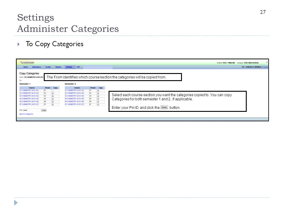 Settings Administer Categories