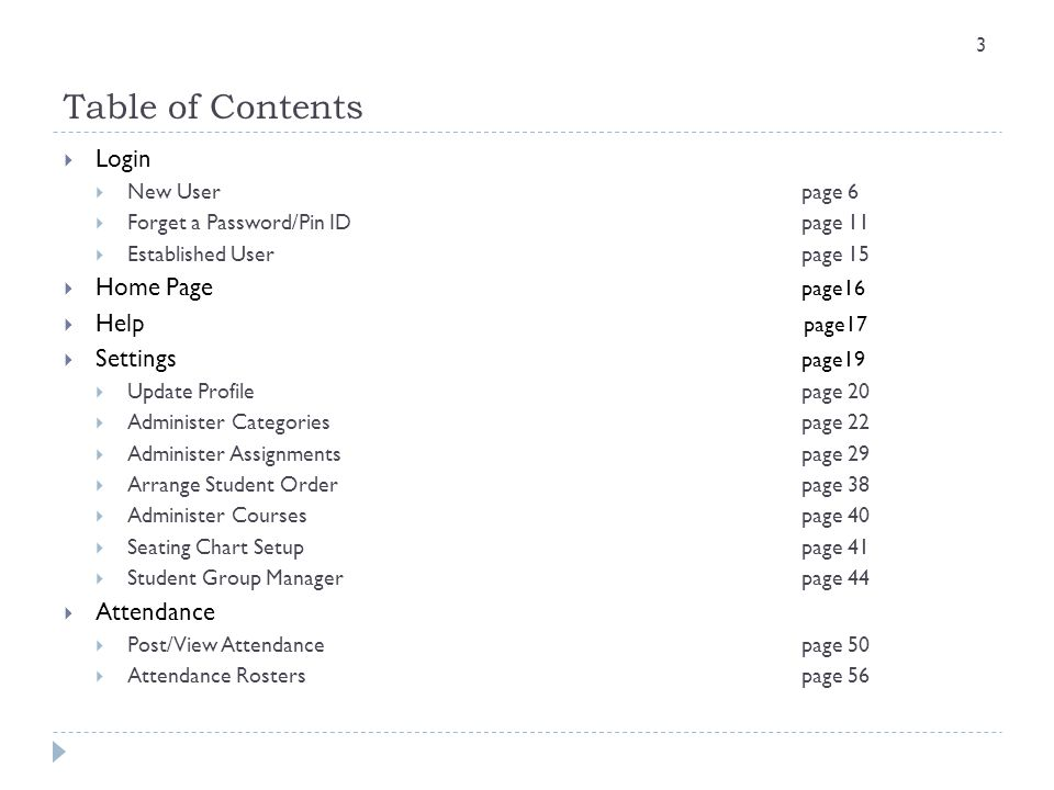 Table of Contents Login Home Page page16 Help page17 Settings page19