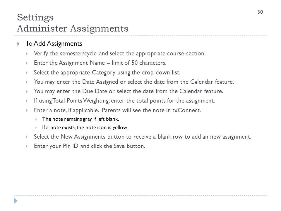 Settings Administer Assignments