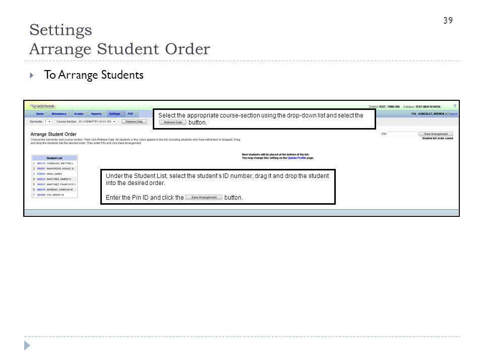 Settings Arrange Student Order