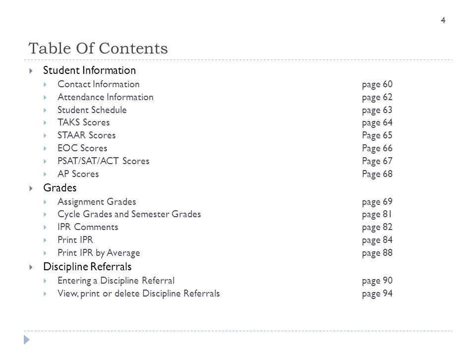 Table Of Contents Student Information Grades Discipline Referrals