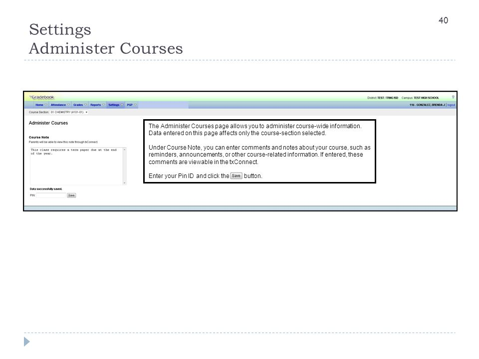 Settings Administer Courses