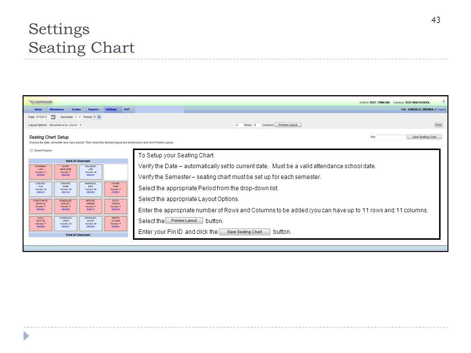 Settings Seating Chart