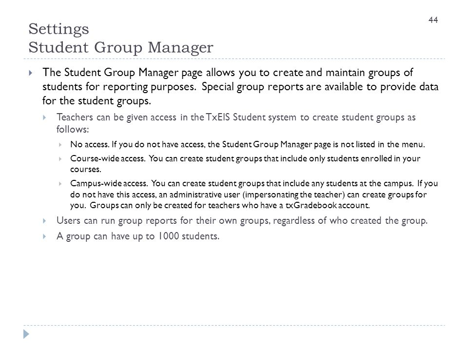 Settings Student Group Manager