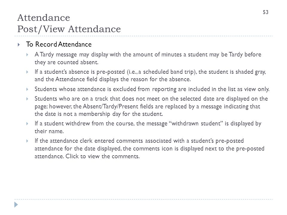 Attendance Post/View Attendance
