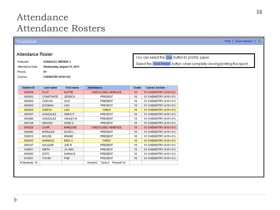 Attendance Attendance Rosters
