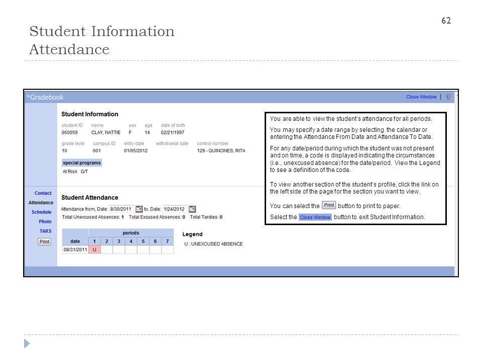 Student Information Attendance