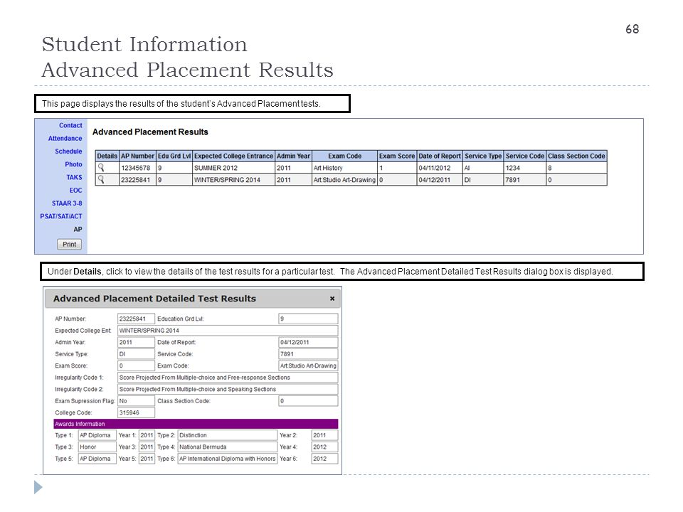 Student Information Advanced Placement Results