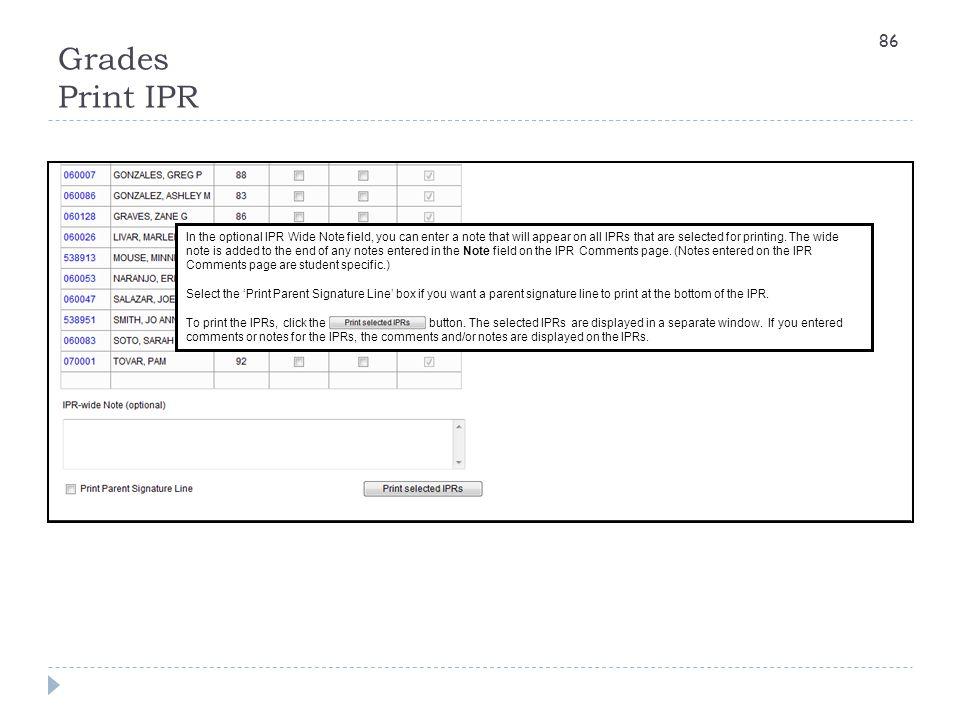 Grades Print IPR