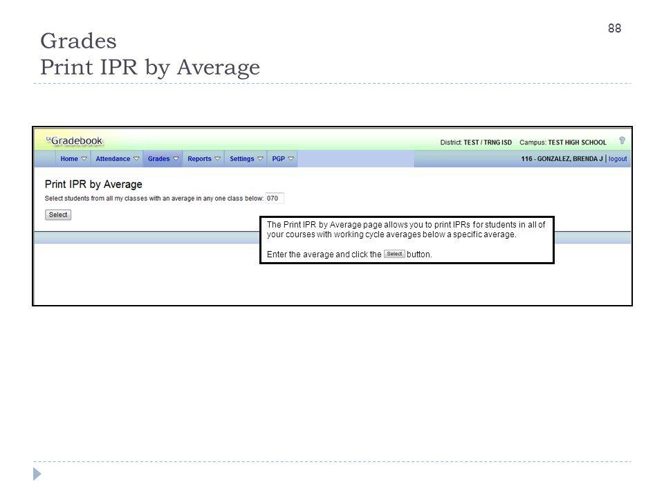 Grades Print IPR by Average
