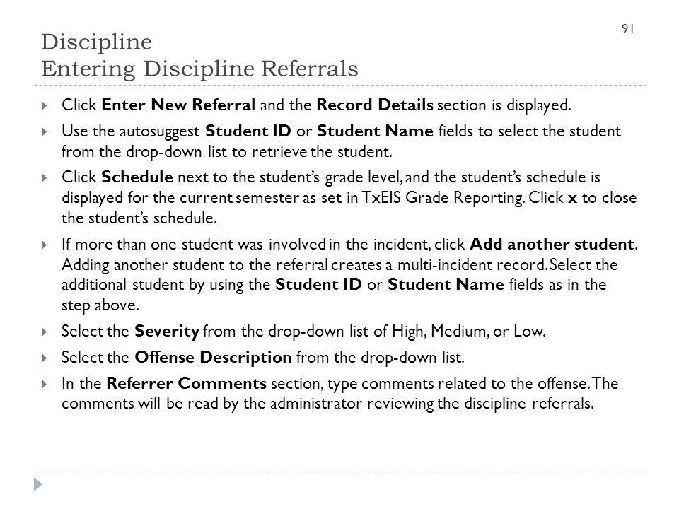Discipline Entering Discipline Referrals