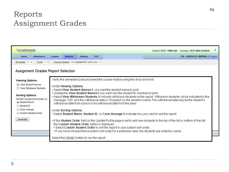 Reports Assignment Grades