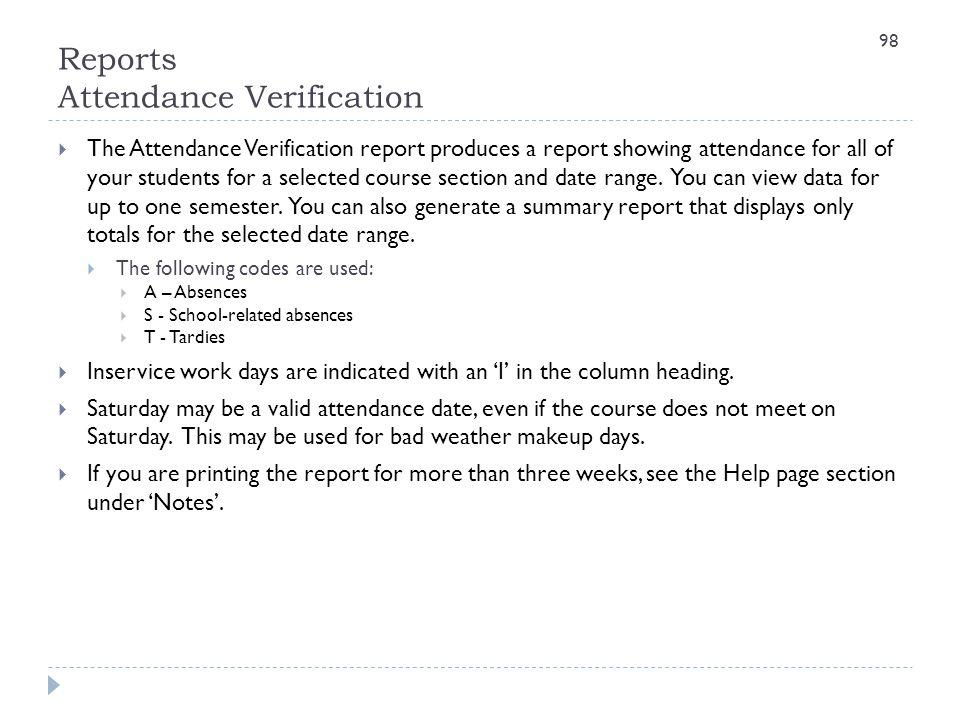 Reports Attendance Verification