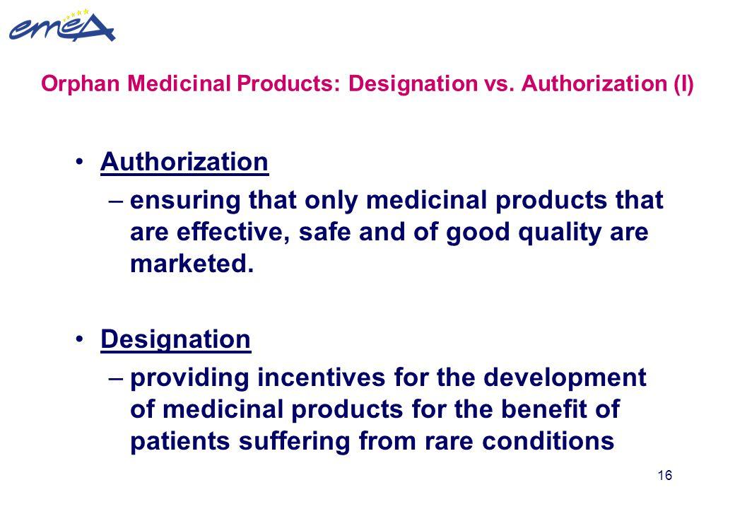 Orphan Medicinal Products: Designation vs. Authorization (I)
