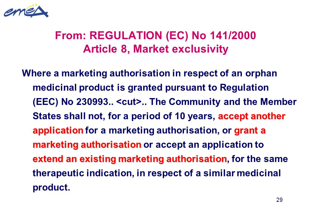 From: REGULATION (EC) No 141/2000 Article 8, Market exclusivity