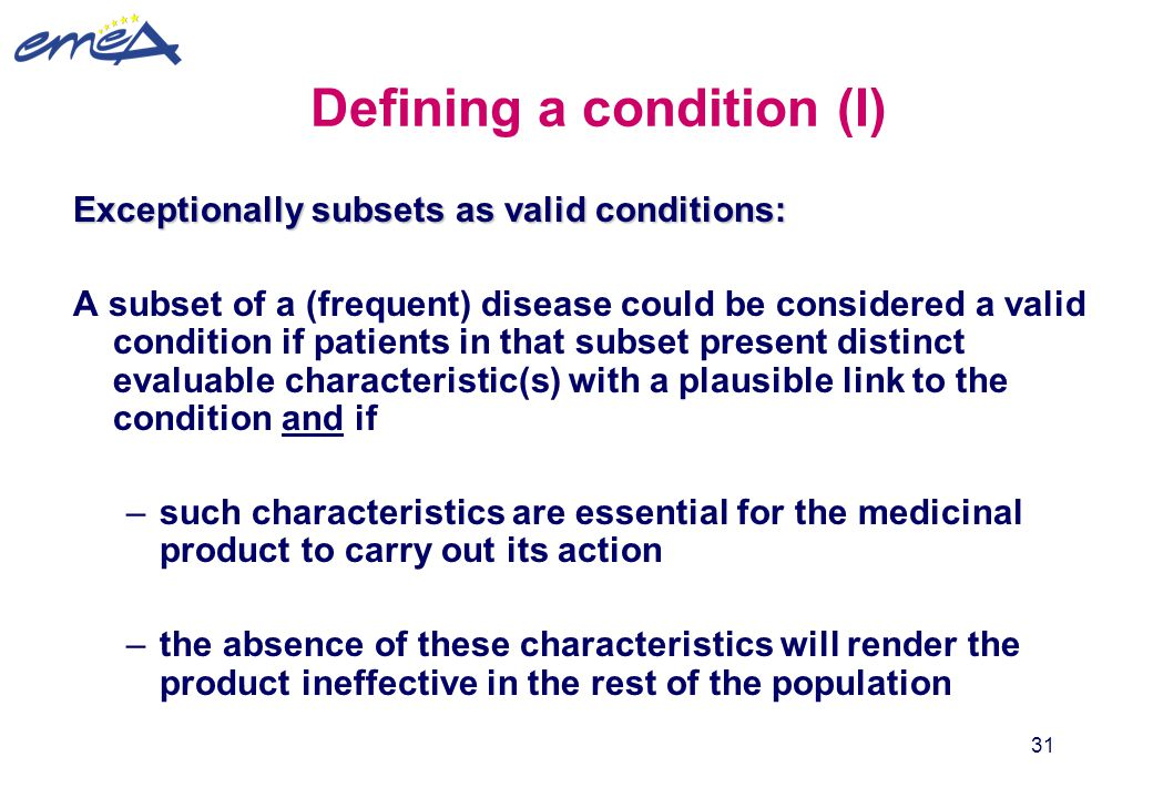 Defining a condition (I)
