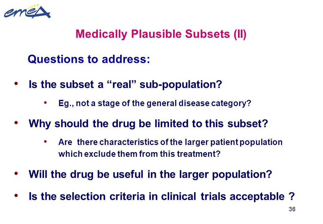Medically Plausible Subsets (II)