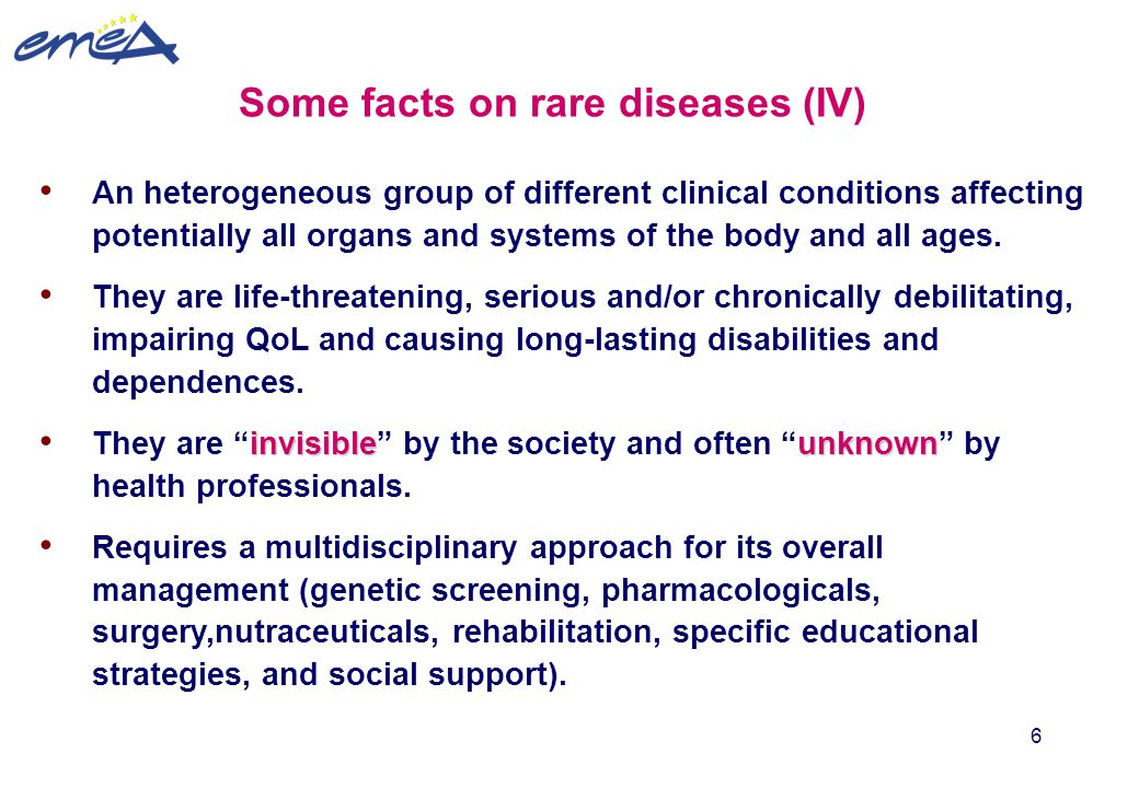 Some facts on rare diseases (IV)
