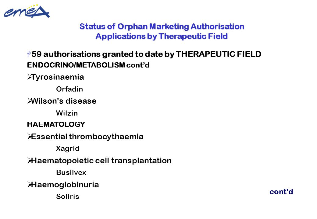 59 authorisations granted to date by THERAPEUTIC FIELD Tyrosinaemia