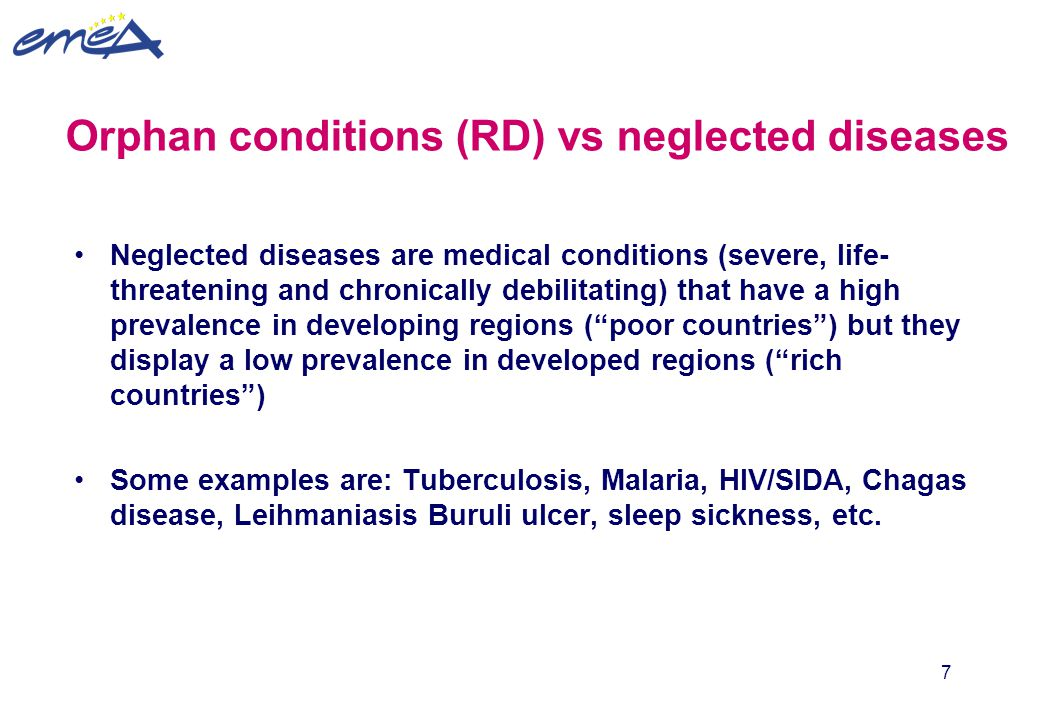 Orphan conditions (RD) vs neglected diseases