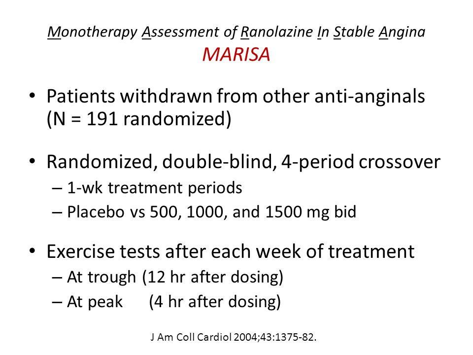 Monotherapy Assessment of Ranolazine In Stable Angina MARISA