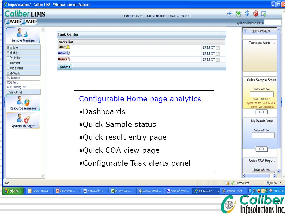 Configurable Home page analytics