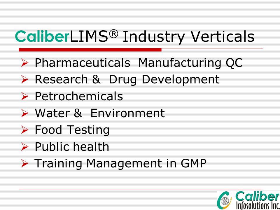 CaliberLIMS® Industry Verticals