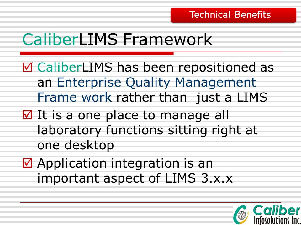 CaliberLIMS Framework