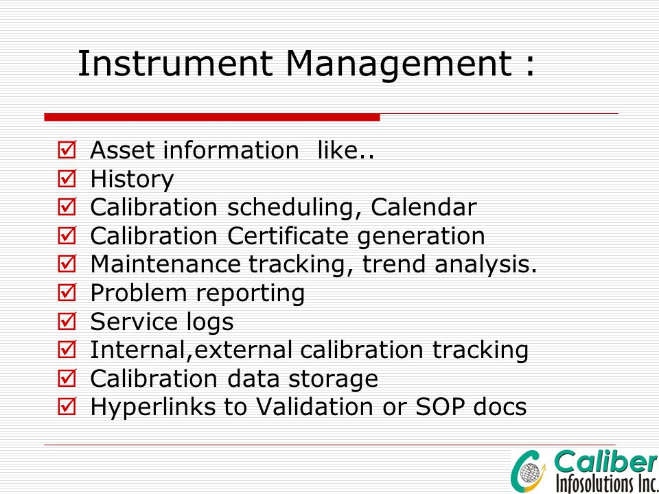 Instrument Management :