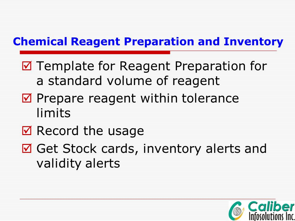Chemical Reagent Preparation and Inventory