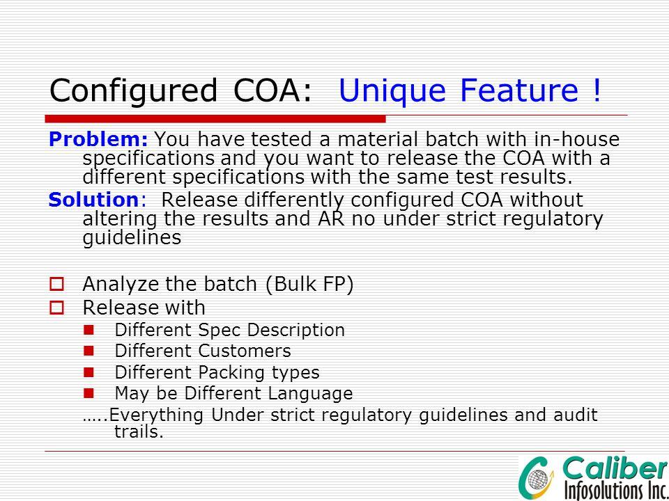 Configured COA: Unique Feature !