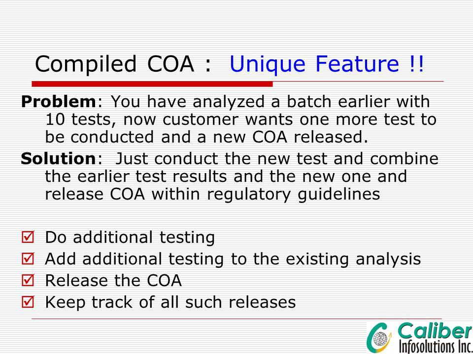 Compiled COA : Unique Feature !!