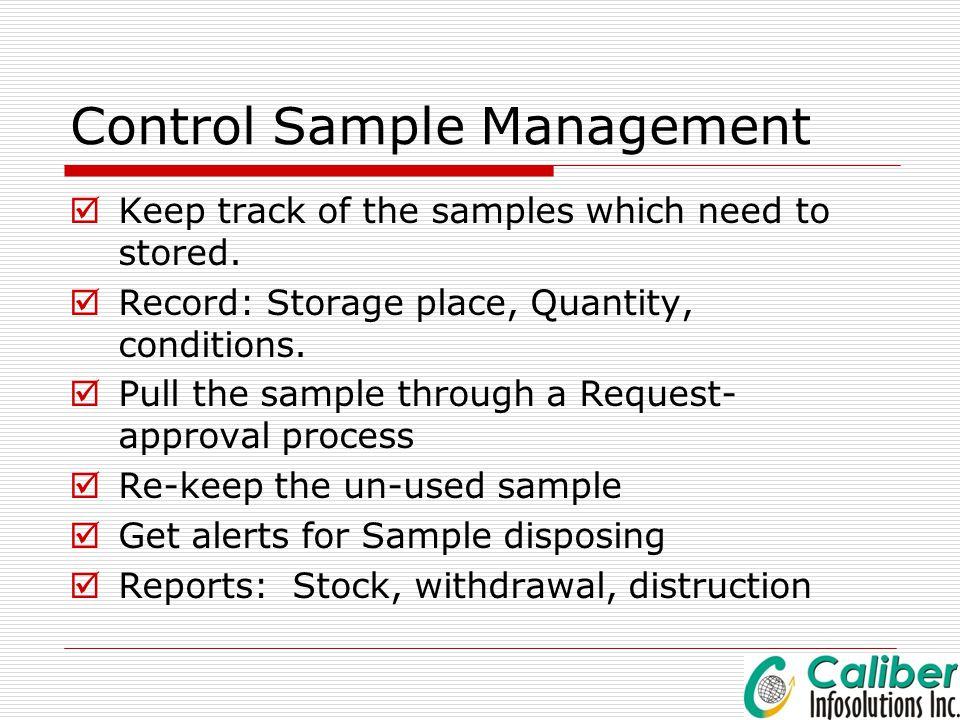 Control Sample Management