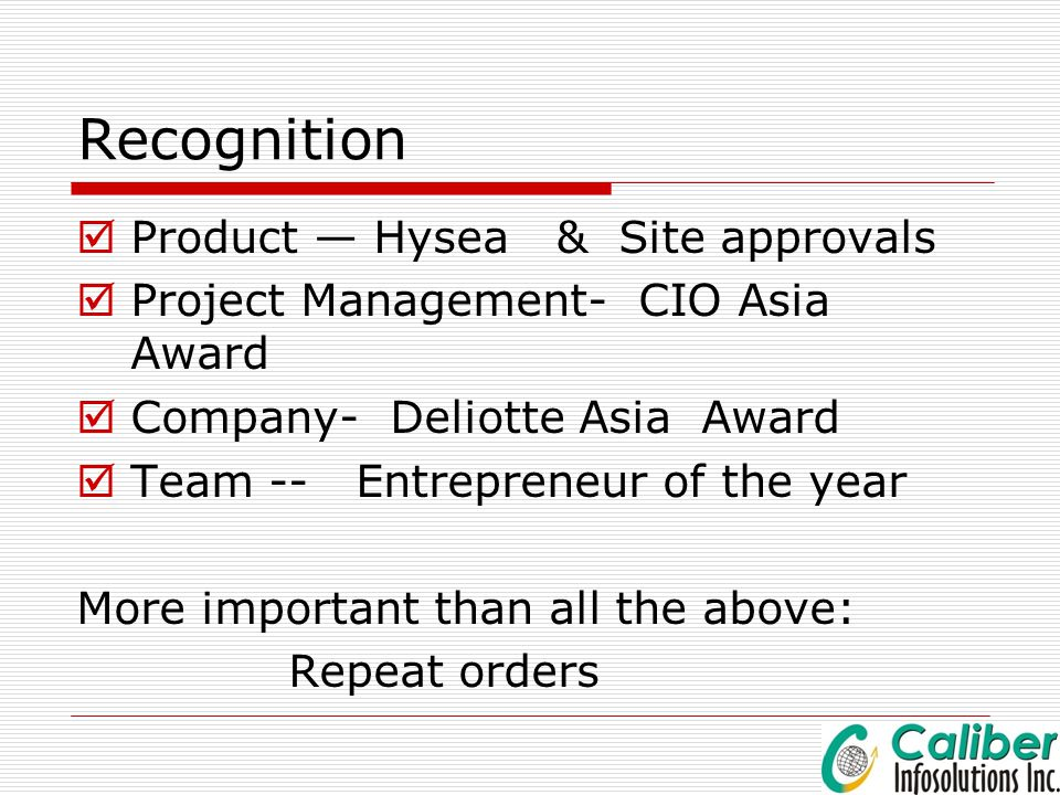 Recognition Product — Hysea & Site approvals