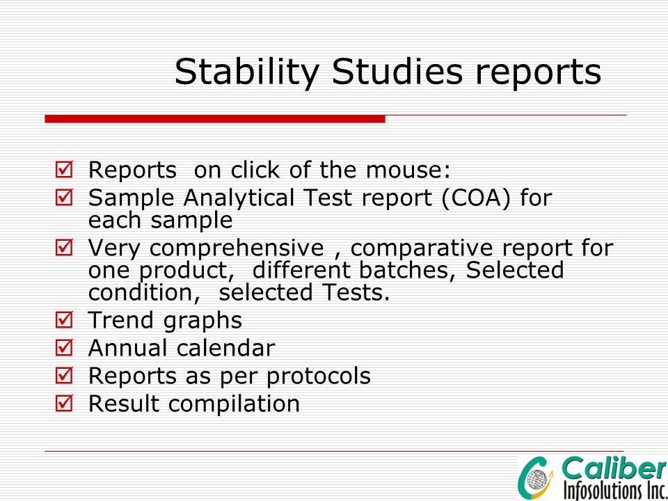 Stability Studies reports