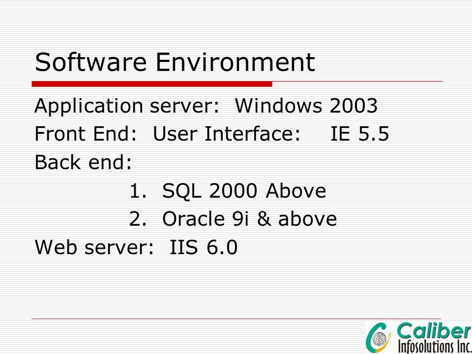 Software Environment Application server: Windows 2003