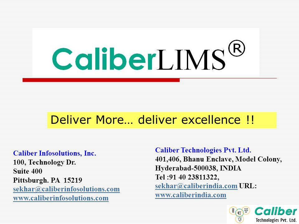 Deliver More… deliver excellence !!