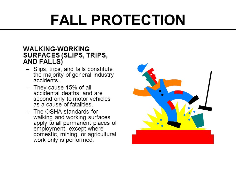 FALL PROTECTION WALKING-WORKING SURFACES (SLIPS, TRIPS, AND FALLS)