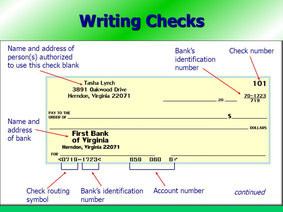 Writing Checks Name and address of person(s) authorized to use this check blank. Bank's identification number.