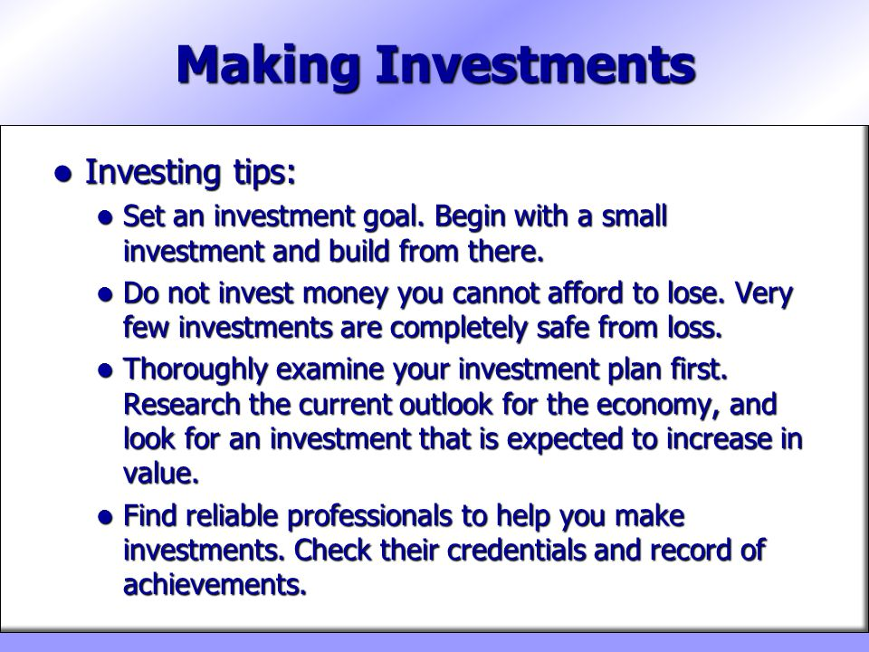 Making Investments Investing tips: