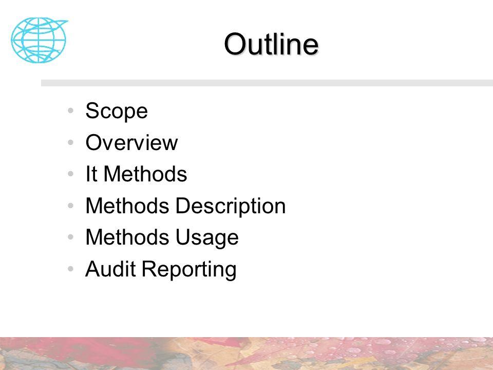 Outline Scope Overview It Methods Methods Description Methods Usage