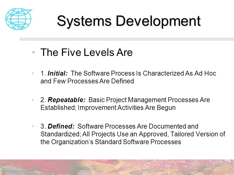 Systems Development The Five Levels Are