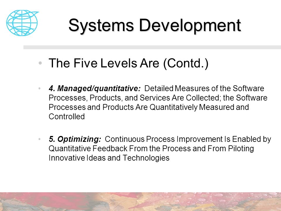 Systems Development The Five Levels Are (Contd.)