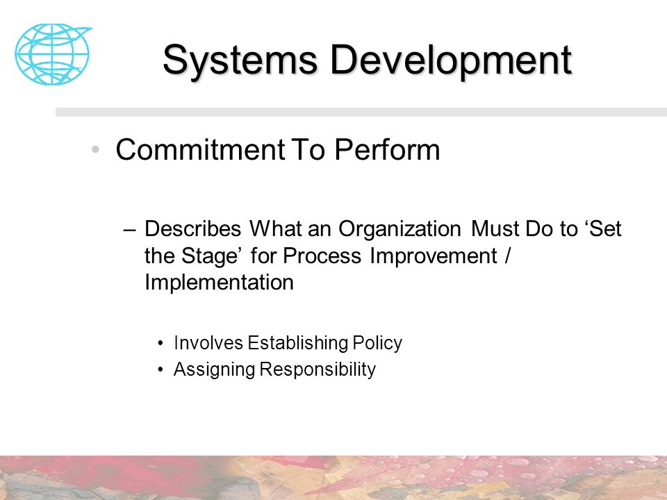 Systems Development Commitment To Perform