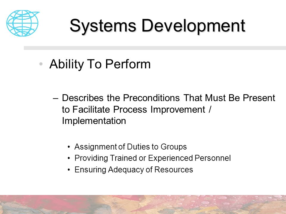 Systems Development Ability To Perform